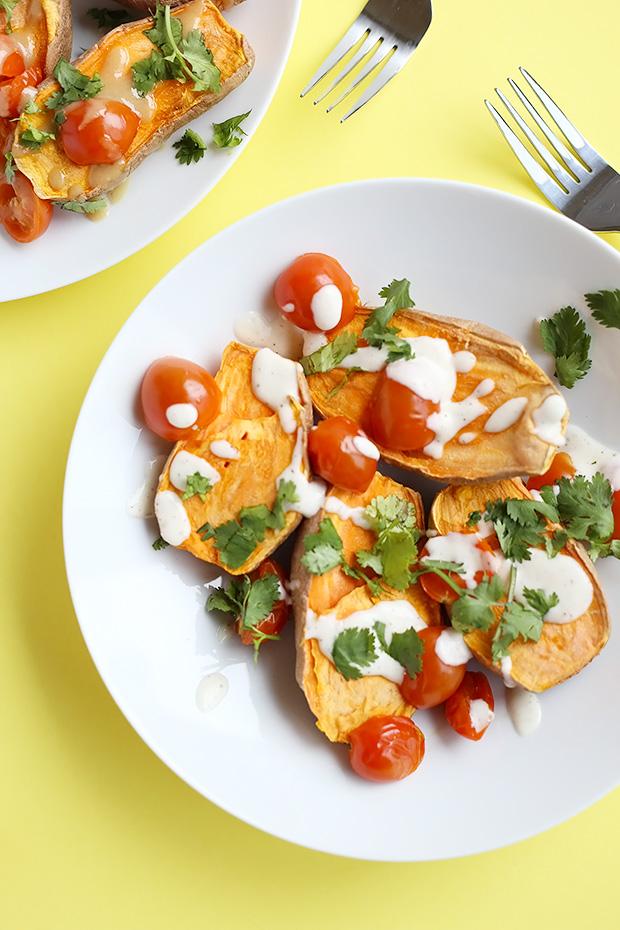 Healthy Baked Sweet Potatoes Lime Tahini Sauce ...